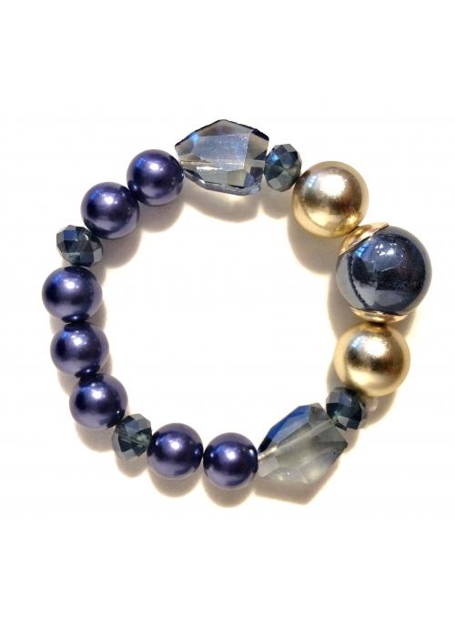 Bratara bleumarin cu cristale