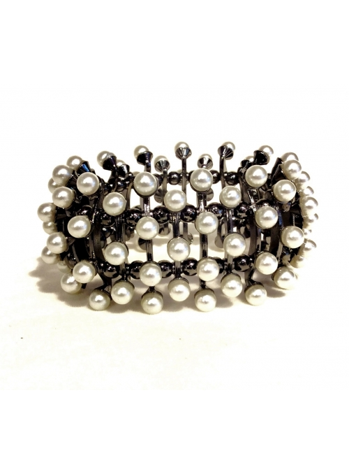 Bratara lata argintie cu perle