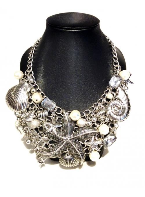 Colier cu Elemente Marine, Perle si Cristale