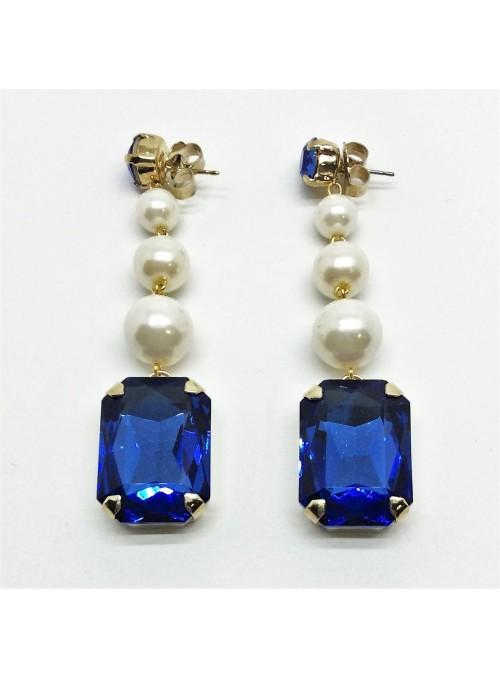 Cercei cu Perle si Elemente Swarovski