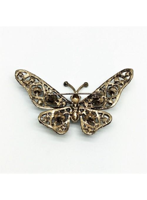 Brosa Fluture Alb Albastru