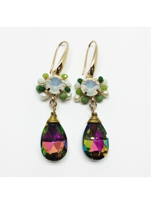 Cercei cu Cristale Multicolore