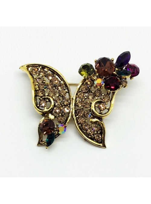 Brosa Fluture cu Cristale