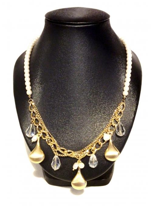 Colier Auriu cu Perle si Cristale