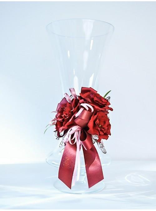 Vaza sticla cu trandafiri rosii DA138