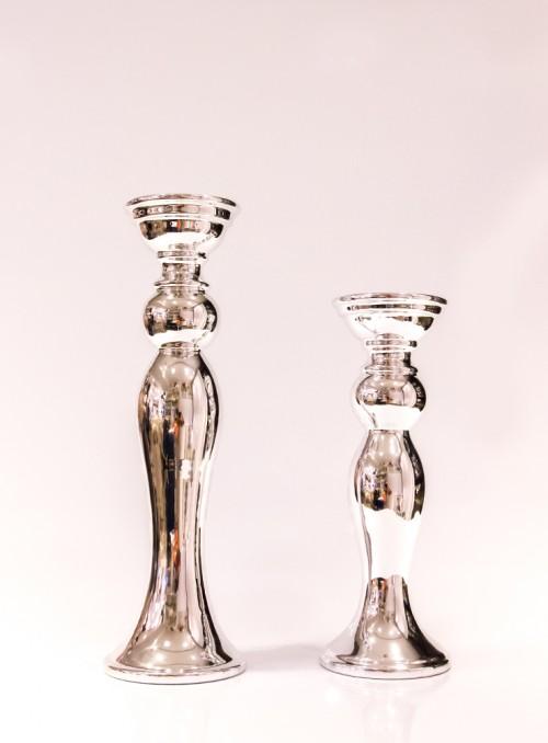 Suport lumanare argintiu (2 dimensiuni)