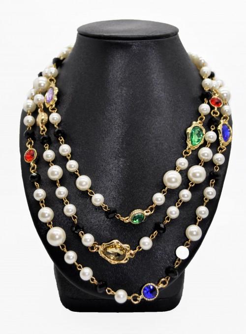 Colier cu perle si cristale