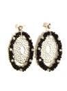 Cercei Ovali cu Cristale si Margelute Negre