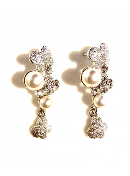 Cercei cu Fluture, Perle si Cristale